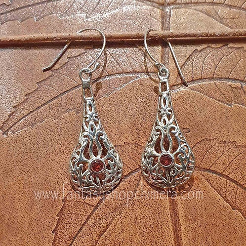dropper earrings semiprecious stones garnet amethyst amethist hangoorbellen zilver silver