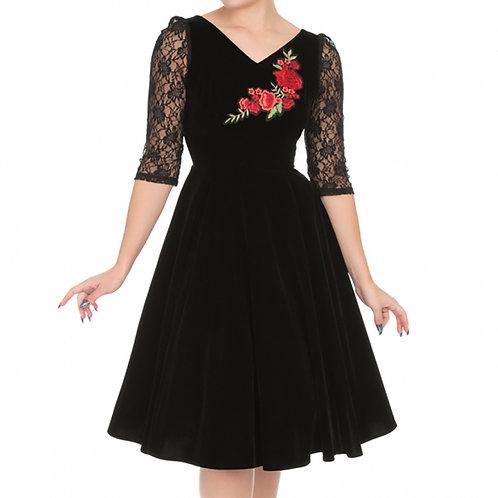 Velvet rose black dress