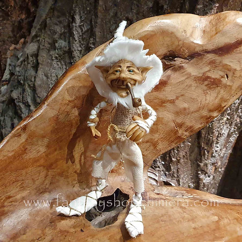 Hayo pipe smoking gnome kabouter ooak wit pijp gandalf duende poppetje