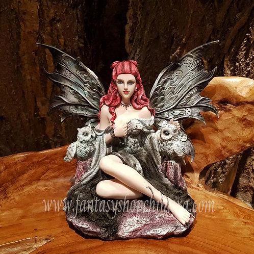 Rihannon fairy with owls figurine elf met sneeuwuil uilen beeld fantasy decoration decoratie