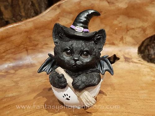witch brew tea cup ki-tea kitten cat halloween bat wings zwarte kat heksje theekopje