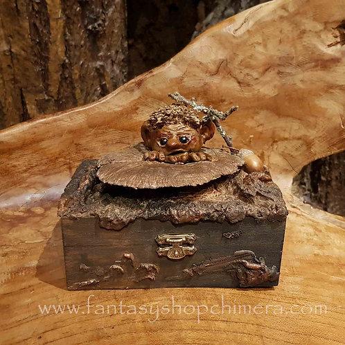 Forest friend pixie box ooak Brian Froud wood handgemaakt doosje kabouter paddestoel mushroom fantasy