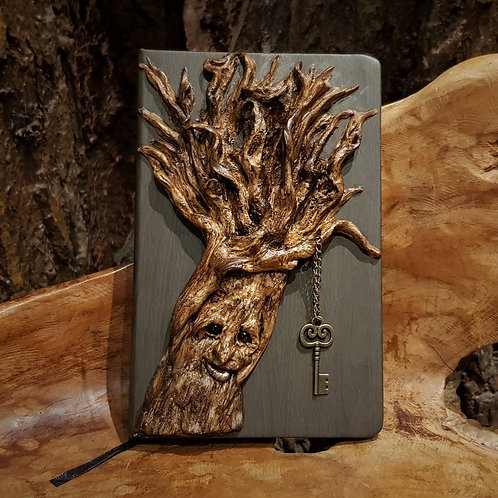 happy tree journal notebook notitieboekje met boom ooak key to secrets