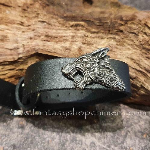 dark wolf leather strap bracelet alchemy herenarmband leer mannensieraden