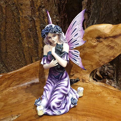 Cathy fairy holding a kitten cat elf met zwarte kat poesje beeld figurine buy fairies
