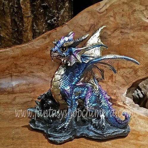blue fortune dragon crystal ball draak met kristallen bol beeldje figurine