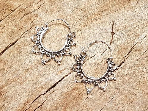 fantasy hoop silver earrings zilveren creool creolen ronde oorbellen