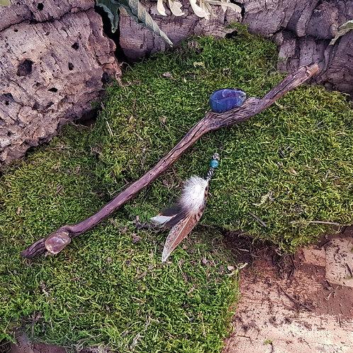 Magical shaman crystal ritual wand Magicae lucis  light toverstaf fluoriet fluorite gemstone spiritual healing
