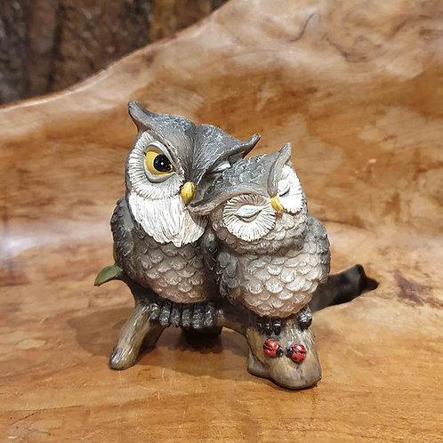 Owl love figurine beeldje uiltjes op een tak verliefd huwlijkscadeau gift valentine valentijn