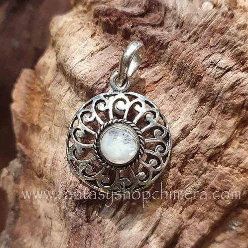 Rainbow Moonstone locket