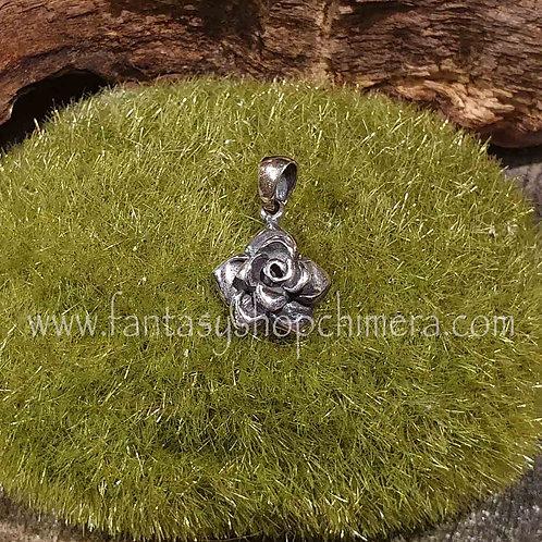silver rose pendant flower zilveren roosje hangertje