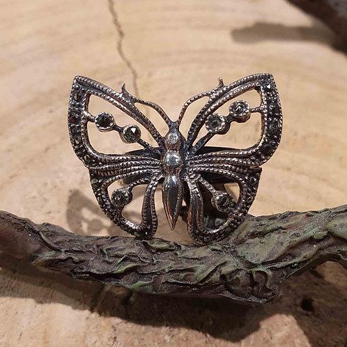 butterfly silver ring vlinder zilveren ring marcasite markasiet steentjes