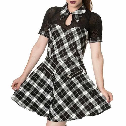 tartan lace black white mini dress alternative clothes amsterdam alternatieve kleding