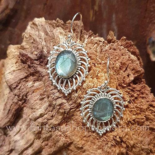zilveren oorbellen met bergkristal silver earrings labradorite labradotiet