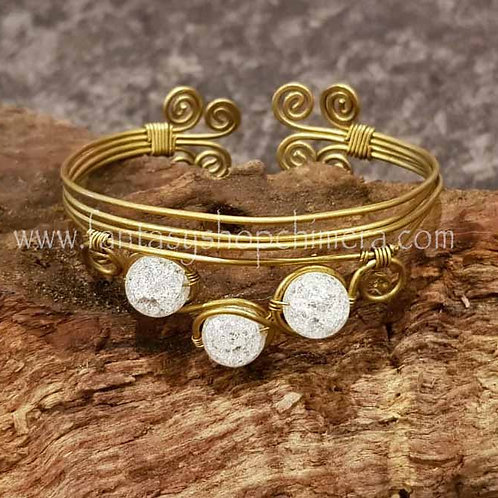 Triple quartz bangle brass copper jewellery handmade beugelarmband kwarts healing stones