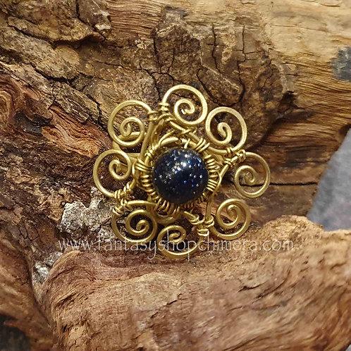 gold stone flower ring goudsteen bloemvormig sieraad