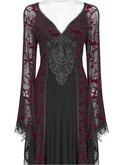 red gothica dress opium pink rave alternatieve kleding alternative wear amsterdam fantasy shop