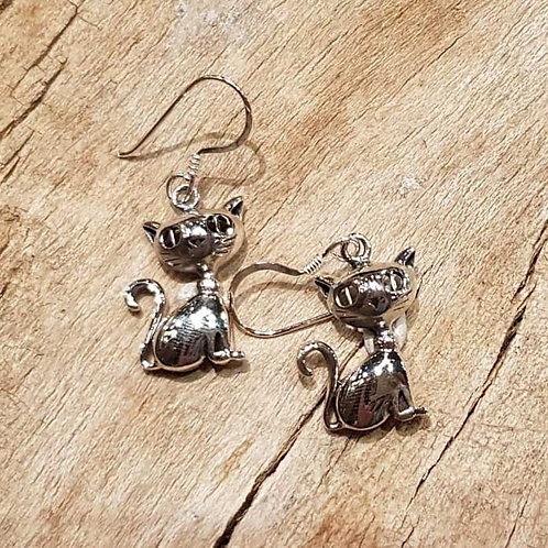 cat earrings katten poesjes kitten oorbellen zilver silver jewellery siraden amsterdam