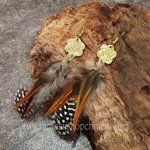 feather earrings brass handmade veren oorbellen fazant boho gipsy style brass messing koper