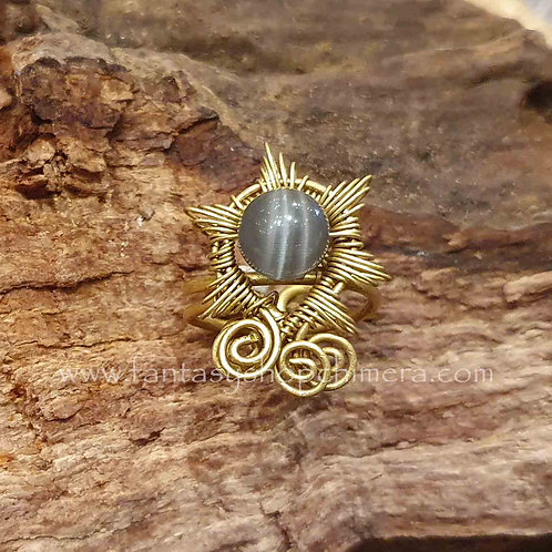 selanite sun ring brass copper wire bohemian boho koperen sieraden selaniet ring