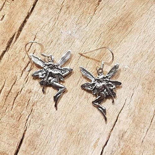 fairy jugendstil fantasy earrings elfje hangoorbellen zilver silver