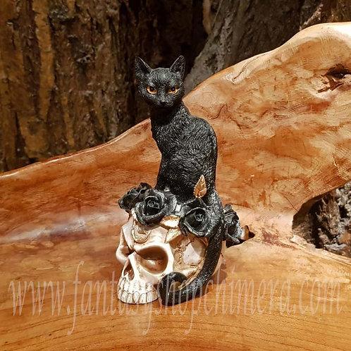 grimalkin's ghost skull kitten black cat ornament schedel zwarte kat roses rozen ornament