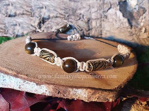 gold-brown tiger eye tijgeroog  macramé bracelet slide knot men women herenarmband goudbruin gevlochten 1