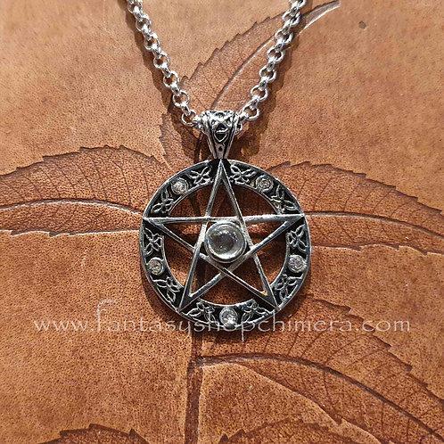 crystal pentagram necklace pendant hanger ketting keltische symboliek