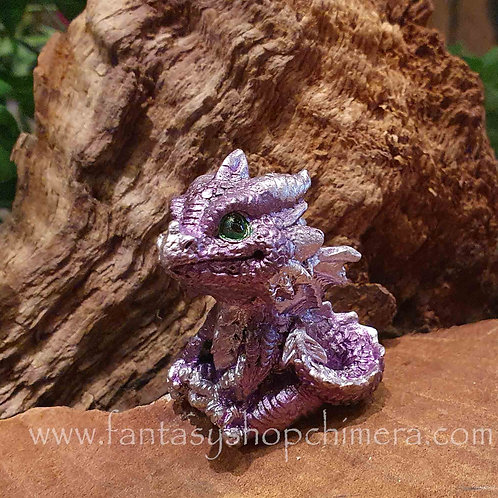 tiny dragon dragonling baby Purple little small kleine draak draakje beeldje figurine drakenbeeldje mini miniatuur