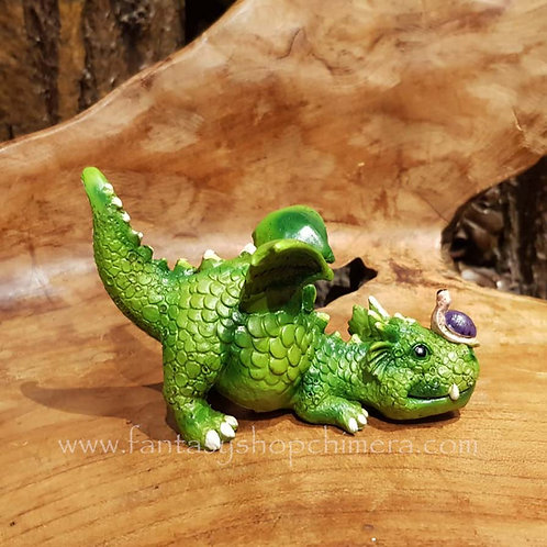 Dragon sitting in a log, being lazy with his bird friend. This ornament can be hung up or stand byits own