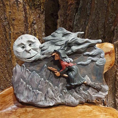 ride to the moon witch broom ceramic ooak wall plaque decoration heks op bezem wand decoratie keramiek