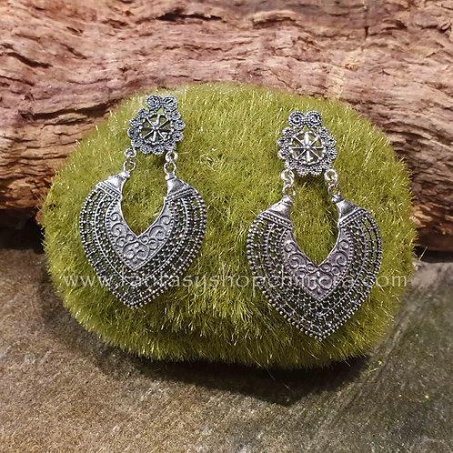 silver earrings filigree filigraan heartshape hartvormig indian zilveren sieraden winkel