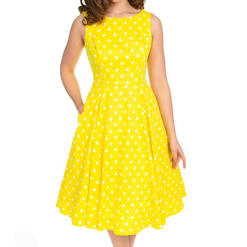 Say Yellow dress swing polka dots h&r alternative wear hillbilly jurkje 50's style stijl fantasy shop kledingwinkel amsterdam