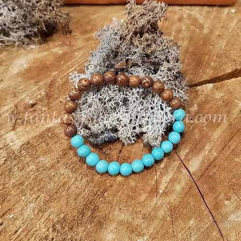 wooden bracelet turquoise houten sieraden armbanden heren dames  beach