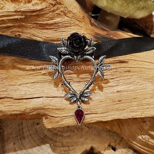 Rose heart shoker alchemy jewelry jewellery sieraden zwarte roos hart collier gothic