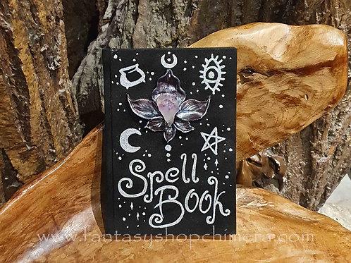 spell book journal book of shadows ooak amethyst amethist spreukenboek bloem orchidee