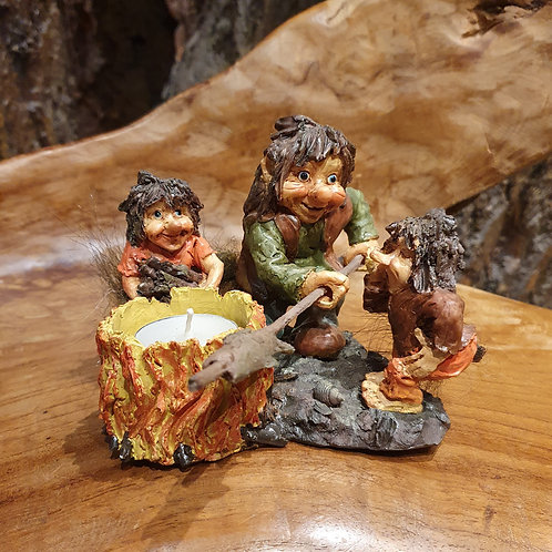 troll family barbeque tea light holder waxinehouder trollen familie kandelaar