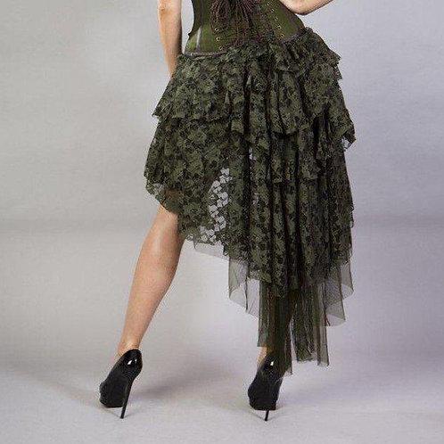 Olivia lace ophelie-burlesque-high-low-skirt-in-green groen kanten rok asymetrisch alternatieve kleding amsterdam