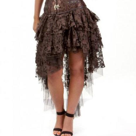 Chocolate lace ophelie-burlesque-high-low-skirt-in-brown-kanten rok asymetrisch alternatieve kleding bruin amsterdam