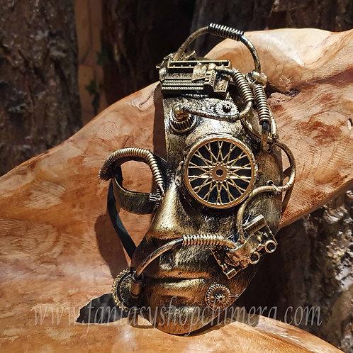 Cyber steampunk mask half face larp game maquerade venetiaans masker verkleden cosplay cyborg