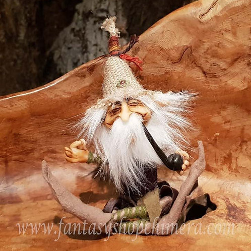Cliff Duende pipe pijp rokend smoking handmade one of a kind o.o.a.k. ooak fantasy gnome pixie kabouter uniek handgemaakt