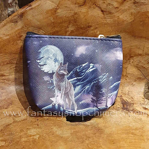 wolf howling coin purs portemonee met wolf print