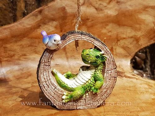 Floris and Flip dragon in log bird hanging ornament draakje in holle boom