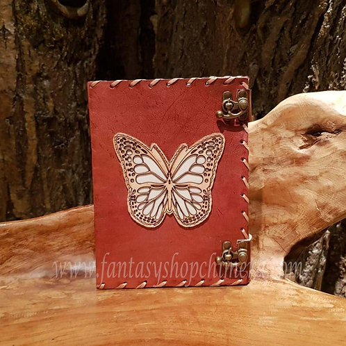 Butterfly brown leather journal diary book notes leren boekje tekenboek opschrijfboek dagboek notitieboek fantasy shop