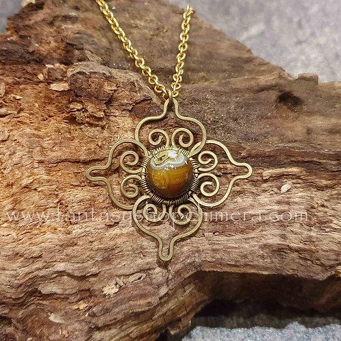 Tiger eye tijgeroog brass flower copper wire jewellery boho bohemian sieraden bloem hanger collier