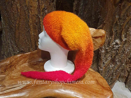 Orange red long pointy hat winter pixie gnome kabouter-muts lange puntige muts winter