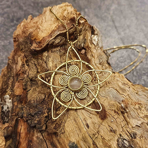Circle flower lotus necklace selanite selaniet collier ketting copper brass koper