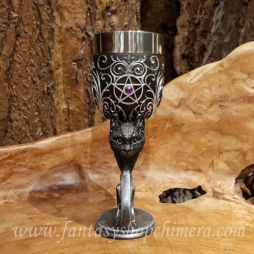 familiars love black cat kitten chalice goblet wijnglas beker zwarte kat kitten