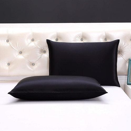 Silken Onyx Black Pillow Case