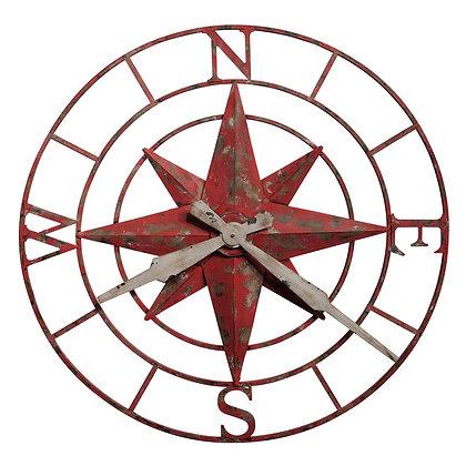 COMPASS ROSE WALL CLOCK